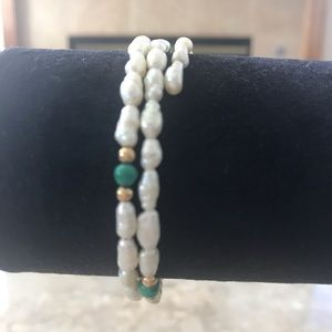 Freshwater Pearl and Malachite Coil Bracelet